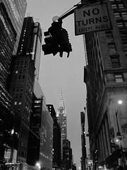 NO TURNS (Fernando Cabalo) Tags: street nyc newyorkcity blackandwhite bw newyork black building blancoynegro blanco skyscraper landscape state streetlamp manhattan negro streetphotography bn chryslerbuilding arquitecture rascacielos miradafavorita