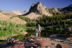 Noah and Me after arriving at Lake Blanche with Sundial Peak in the background