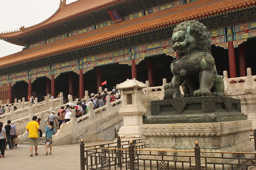Chinese guardian lion statues at Forbidden Palace Beijing China