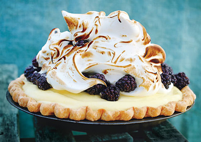The beautiful and amazing Lime and Blackberry Italian Meringue Pie .