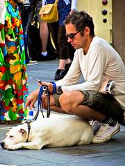 Lying Doggo (garryknight) Tags: dog man london canon powershot southbank lie creativecommons lying lightroom liedown sx220hs