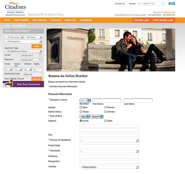 Citadines online membership sign-up