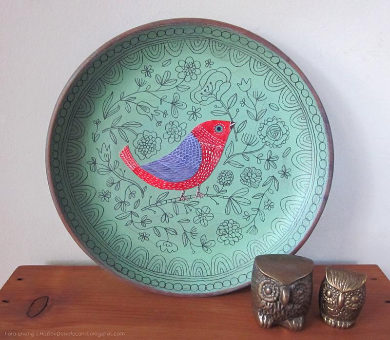 Green Bird Doodle Plate