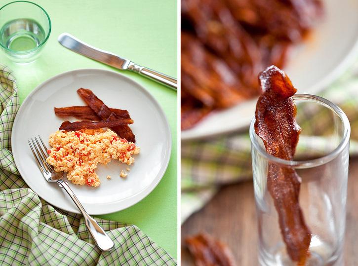 Vegetarian Bacon (Eggplant) and Scrambled egg (Paneer)