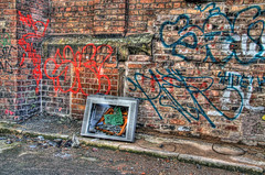 TV 's rubbish tonight   tonemapped (jinxy2009) Tags: streetart art abandoned broken television liverpool canon eos graffiti tv bust 7d deserted hdr merseyside jinxy2009