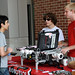 Students look at displays at the Engineering welcome back event.