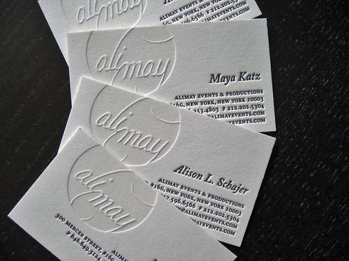 Alimay Events Letterpress Cards