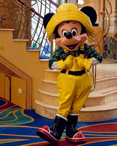 cruise summer vacation yellow alaska pose carpet costume fisherman boots character ak rubber disney lobby staircase mickeymouse flannel plaid atrium raincoat disneywonder dcl tracyarm disneycruiseline 2011