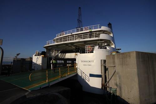Stern end of MV Sorrento loading at Sorrento