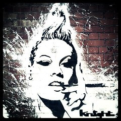 That Cigarette Holding Girl in Stroud (Semi-detached) Tags: street portrait urban woman streetart art painting grafitti cigarette august gloucestershire smoking knight stroud holder 2011