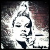 That Cigarette Holding Girl in Stroud (Semi-detached) Tags: street portrait urban woman streetart art painting grafitti cigarette august gloucestershire smoking knight stroud holder 2011