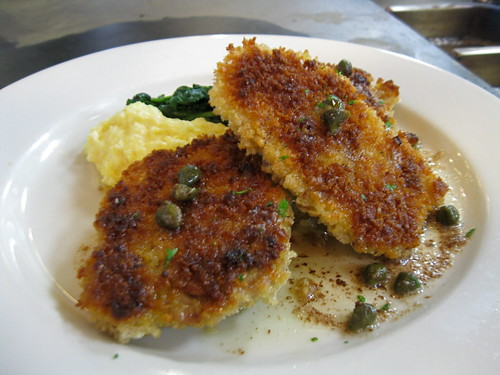 Crispy Pan-fried Sweetbreads w. Brown Butter Caper Sauce and Creamy Goat Cheese Polenta