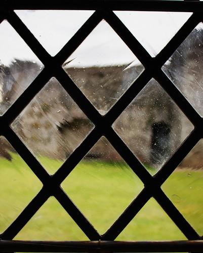 Diamond-paned window Tretower Court by Helen in Wales
