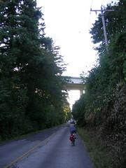 Steph on Evergreen Road, with the Glen Jackson bridge looming ahead