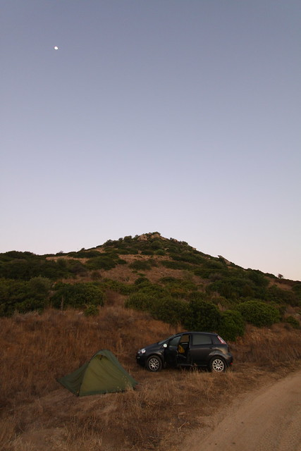 Wild camp (under the moonlight) on the hillside just outside of Villasimius