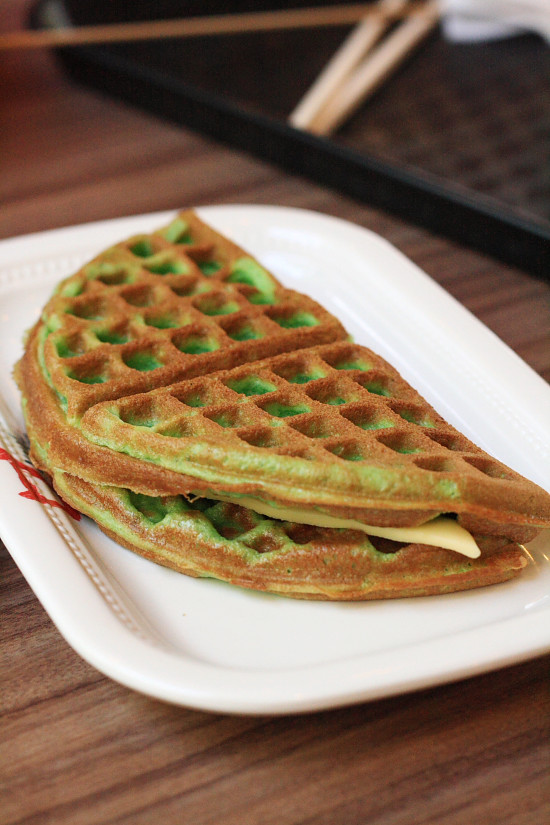 Dessert of Pandan Waffles Stuffed with Cheese