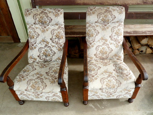 Sold - E570N 1920s Pair of Fireside chairs of Tasmanian oak