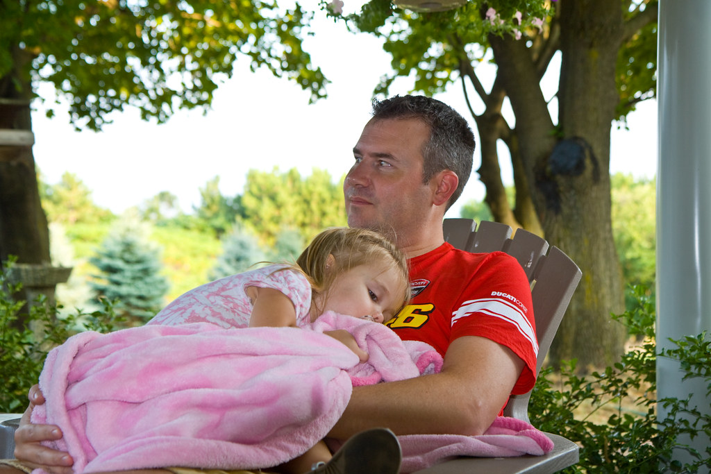 Daddy and Emma in the Backyard