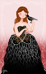 Dark Wings~Dark Secrets (Giovana Medeiros) Tags: lady dress embroidery queen crow alexandermcqueen