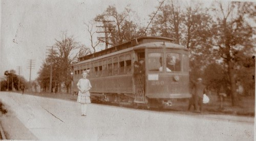 Chicago & Joliet Electric Railway interurban streetcar on South Archer Avenue east of the intersection at South Harlem Avenue.  Chicago Illinois USA. Circa 1920's era. by Eddie from Chicago