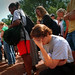 A student is overcome with grief during an impromptu gathering on the Brickyard on the morning of Sept. 11.