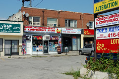 3456 Danforth Ave - August 27, 2011 (collations) Tags: toronto ontario architecture documentary vernacular streetscapes builtenvironment cornerstores conveniencestores urbanfabric varietystores