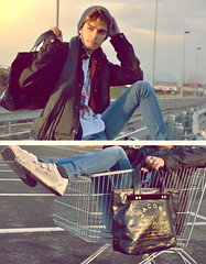 #38 On and on I carry on (Gianni Sarracino) Tags: by bag outfit highway sneakers jacket lazy marc biker jacobs cart tee lacoste jackets gianni lookbook oaf belstaff sarracino