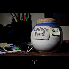 The Grace Period Must End (246/365) (derrickcollins) Tags: money college pen pencil cork mug jar loan fund project365