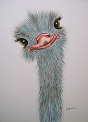 Silly Ostrich watercolour (serene04) Tags: portrait art painting ostrich watercolour