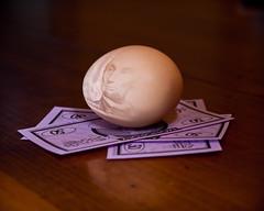 Abe Egged (Scott Coulter) Tags: money pentax egg indoor monopoly abrahamlincoln tabletop strobist pentaxk100dsuper