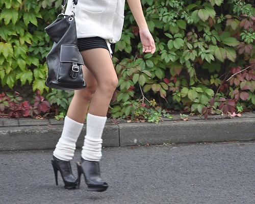 pumps with leg warmers