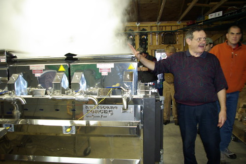 The inventor of the Hurricane Force 5 evaporator, Rejean Laverdiere, demonstrates its use.