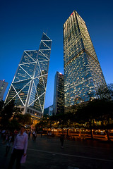 The Bank of China Tower(left) and Cheung Kong Center(right), Hong Kong (Raj Hanchanahal Photography) Tags: sunset people hongkong crowd bluesky bankofchinatower tallbuilding centraldistrict canon1022mm cheungkongcenter canon40d