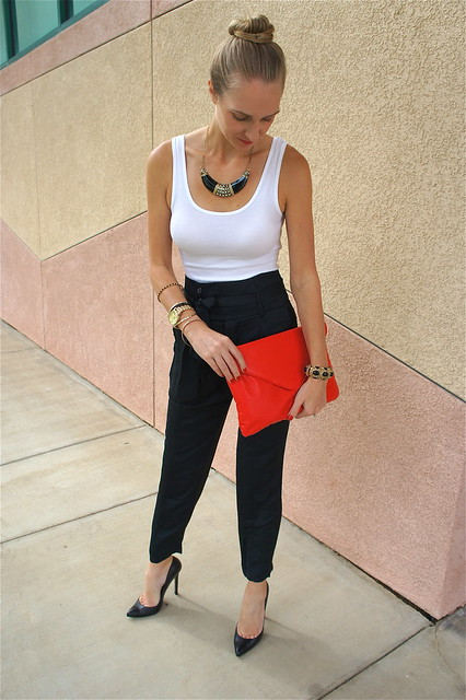 Black pants and white tank outfit