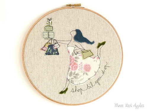embroidery hoop art by Three Red Apples
