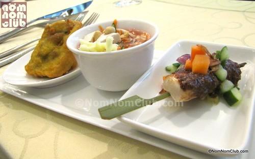 Indonesian Appetizers: Tahu Isi, Asisnan Sayuran, Sate Ayam (left-right)
