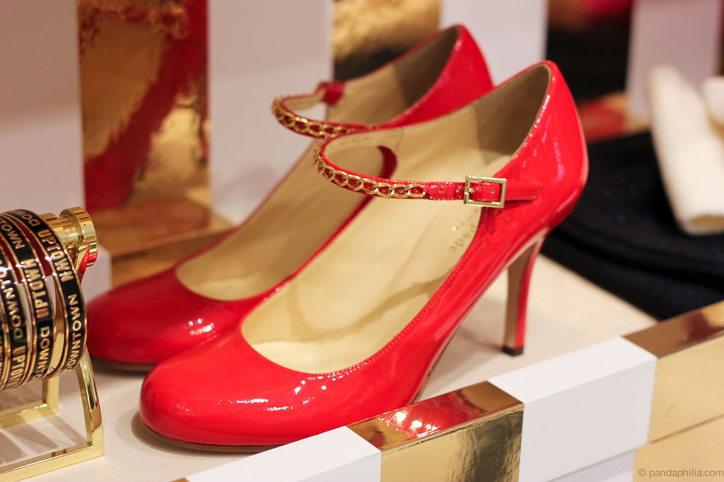 red patent ankle strap
