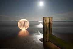 i love the beach (~ jules ~) Tags: longexposure light sea moon lightpainting reflection beach clouds ball circle globe julian sand nikon paint orb sigma marshall torch sphere round jules maglite groynes lightpaint lapp d300s jayemphotography
