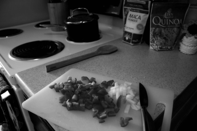 chopping in my rented-for-the-week kitchen