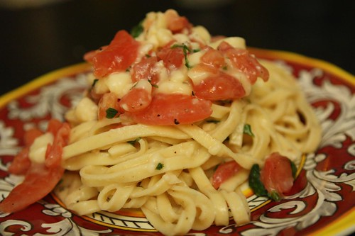 Linguine with Brie, Tomato, Garlic, and Basil