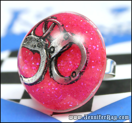 Girly Cuffs - Pink Glitter Resin Round Silver Ring by JenniferRay.com