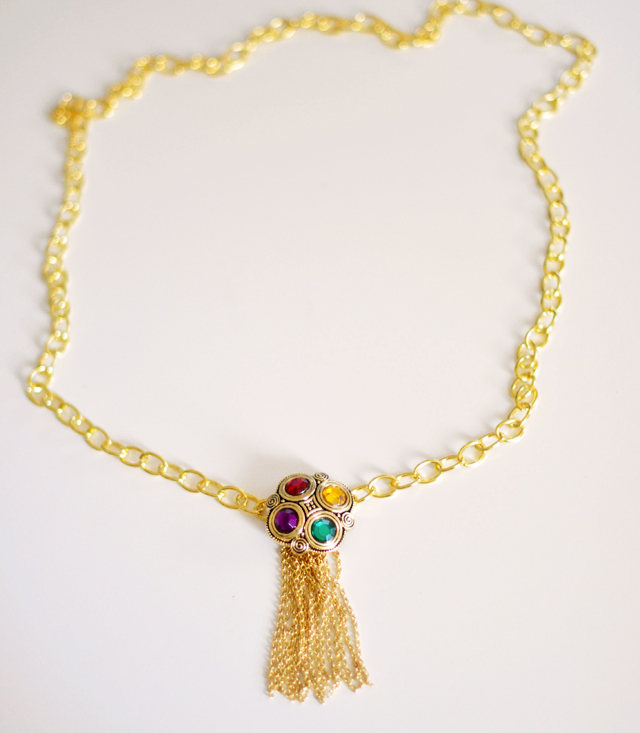Gilded Gemstone and chain tassel necklace DIY-5