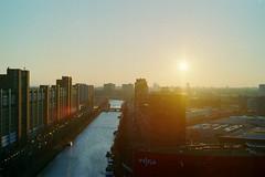 Sunset The Hague (Kjell_Doggen) Tags: city blue sunset sky urban holland water netherlands sunshine countryside canal zonsondergang blauw random den nederland hague kanaal lucht haag zon stad landschap 7200 plustek opticfilm