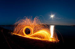 Steel wool on the beach (Northwest dad) Tags: moon beach wool cool nikon steel fisheye 8mm d300 samyang prooptic