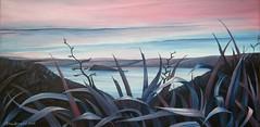 Twighlight (tracy macdonald) Tags: light newzealand dark painting landscape artist shadows view canvas wellington flax somesisland tracymacdonald