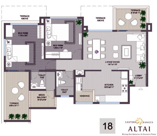 Eastern Ranges Keshavnagar Altai 2 BHK Flat 762 sq.ft. Carpet Area + 145 sq.ft. Terrace