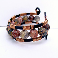 Jungle Cuff (Ruth Jensen) Tags: recycled bracelet copper cuff copperwire cuffbracelet wirewrapped leopardjasper sparkflight ruthjensen recycledcopper