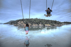 Swing Island (70/365) (Fang Tong) Tags: blue boy sky water girl kids vancouver project island nikon bc dream surreal days swing 365 higher tong fang mygearandme