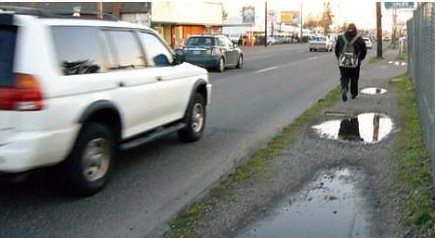 lousy walking conditions (by: April Bertelson via Transportation for America, Dangerous by Design)
