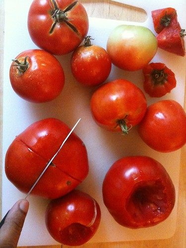 Scoring the tomato bottoms